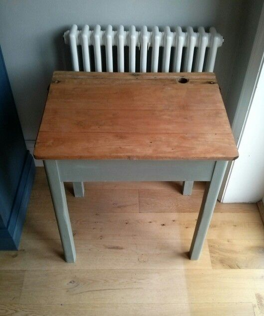 Vintage school desk painted in Annie Sloan's duck egg blue. Buy it now £40. Henry Paints Furniture. On Facebook and Ebay