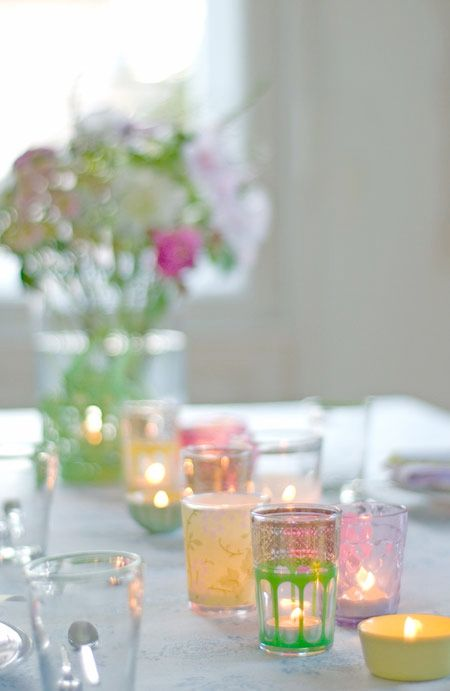 colored glass votives