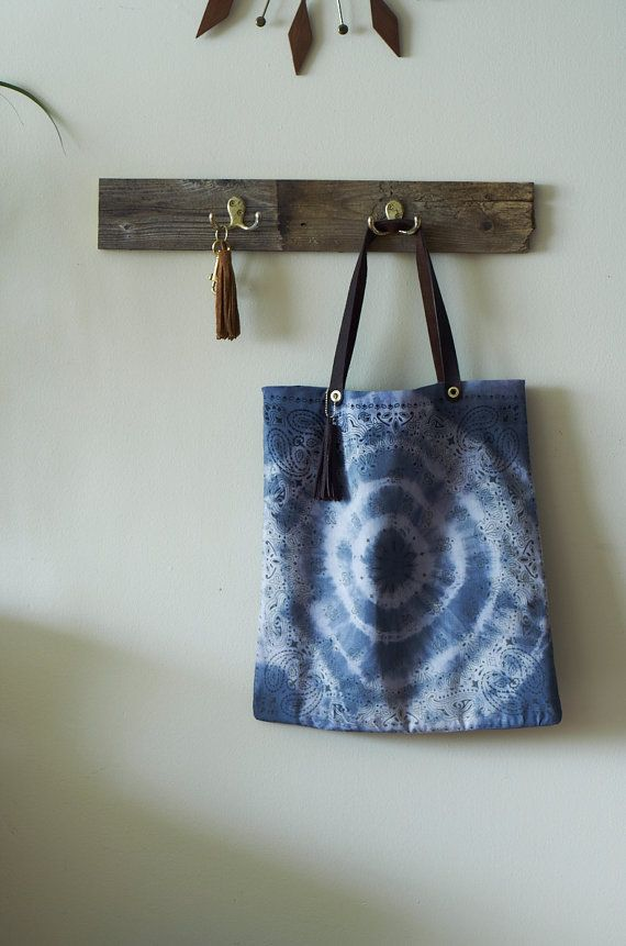Tie Dyed bandana bag Indigo and purple w/ by TheFamilyTradingCo, $45.00