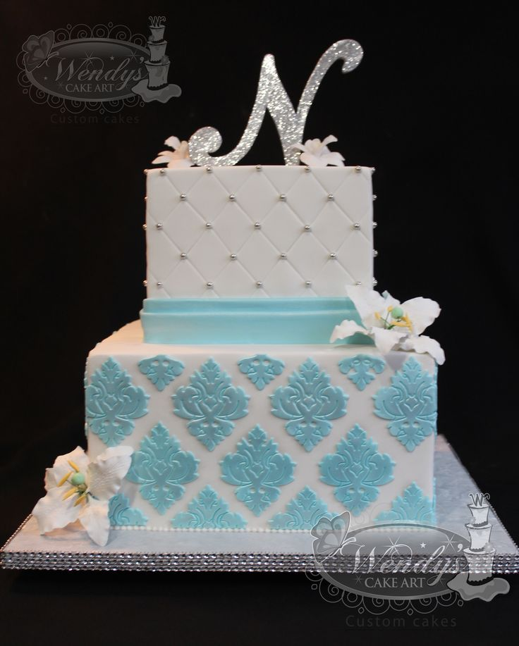 Www Wendyscakeart Two Tiers Cake Blue And White Cake