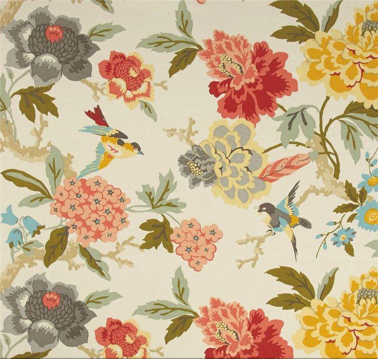 Coral Peach Shower Curtain, Bird Shower Curtain, Floral Shower Curtain, Summer Decor, Bird Bathroom Decor, Hydrangea Floral by asmushomeinteriors on Etsy https://www.etsy.com/listing/492408204/coral-peach-shower-curtain-bird-shower