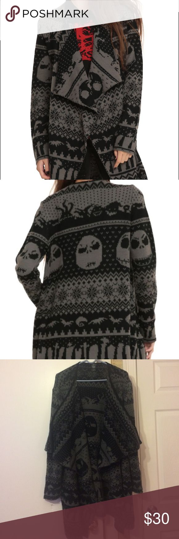 Nightmare Before Christmas Cardigan Hot Topic/Torrid The Nightmare Before Christmas cardigan in grey/black. Size 3x. Only worn a couple of times. torrid Sweaters Cardigans