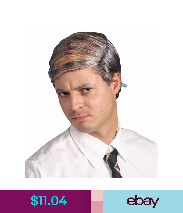 Mens Grey Old Man Comb Over Grampa Wig Fancy Dress Costume Outfit Accessory