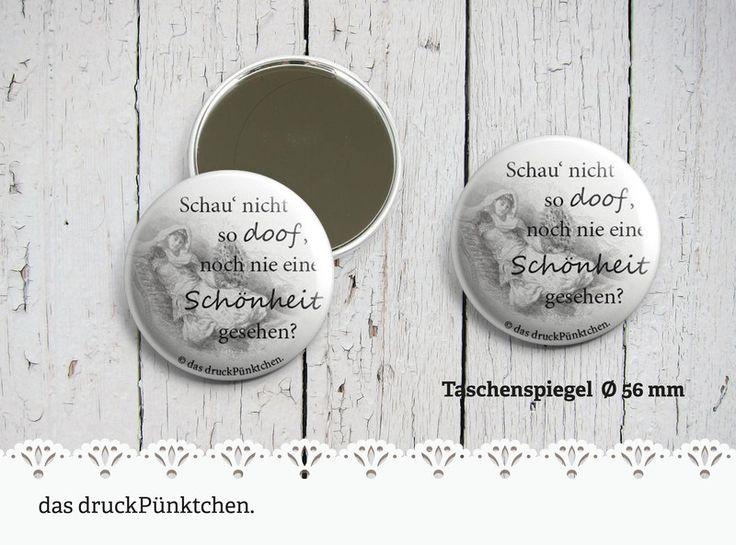 """Taschenspiegel – Handspiegel """"Schönheit"""" Ø 56 mm von das druckPünktchen. auf …"""