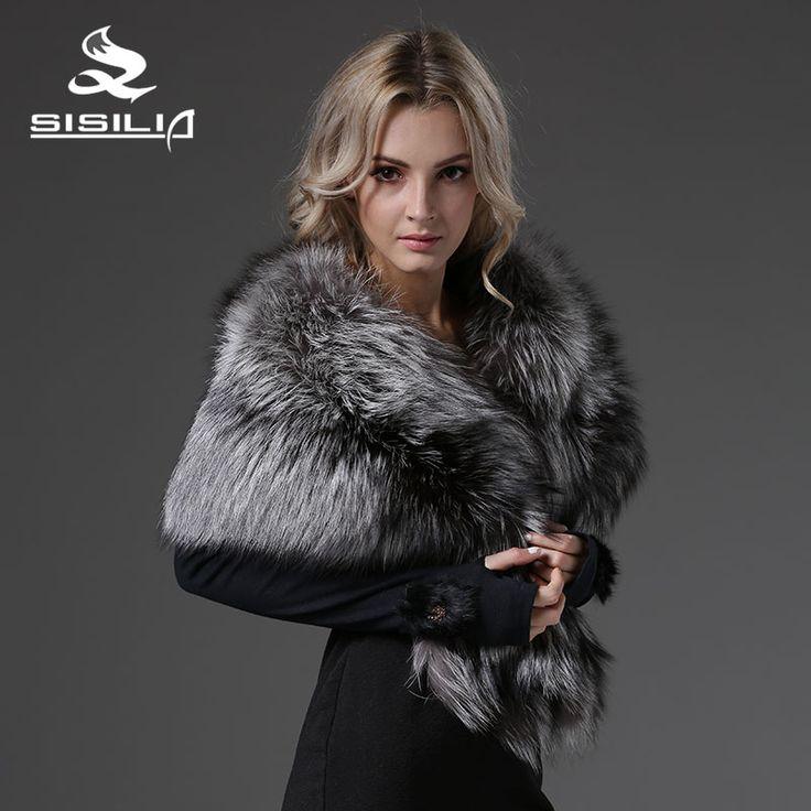 SISILIA 2016 New Natural Silver Fox Fur Cape High Quality Full Pelt Fox Fur Pashmina Warm Free Shipping