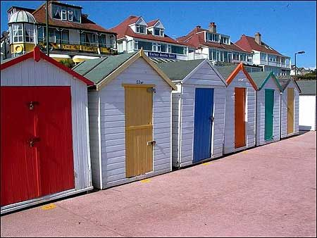 Beach huts--Preston Beach, Devon, England