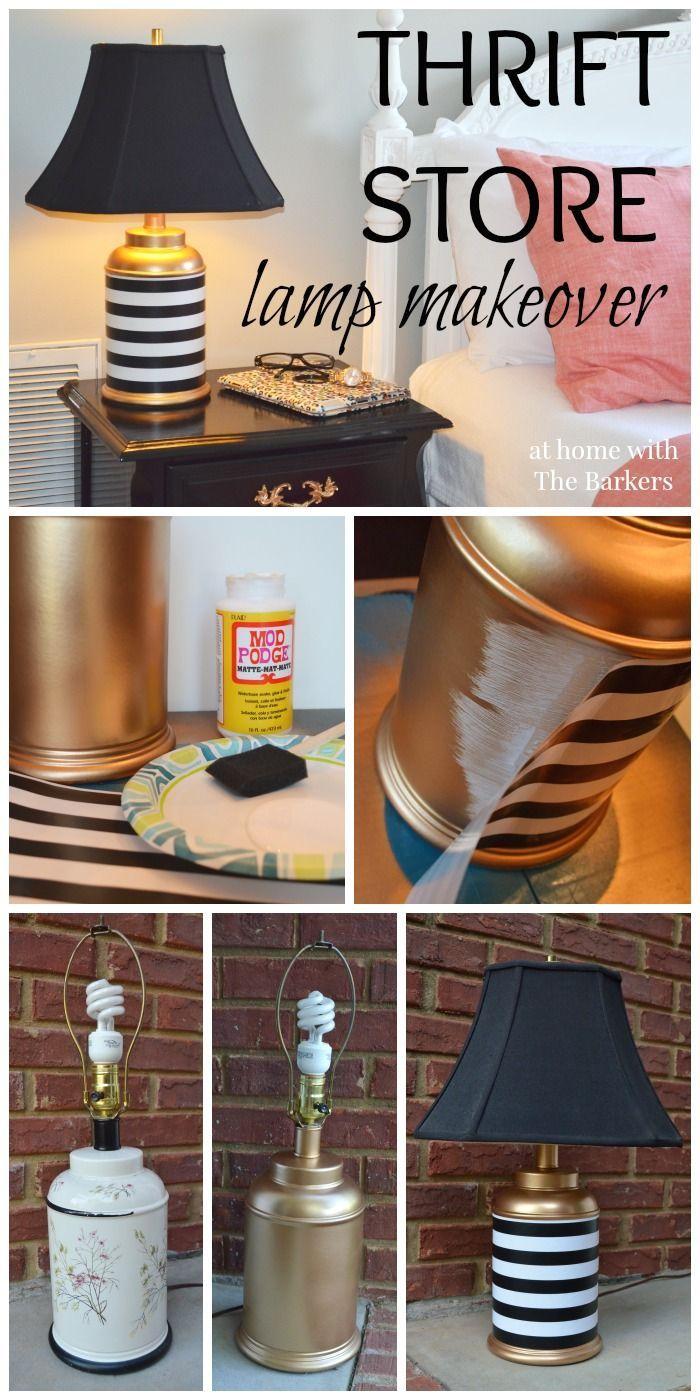 Thrift Store Lamp Makeover-Gold Spray Paint-Mod Podge