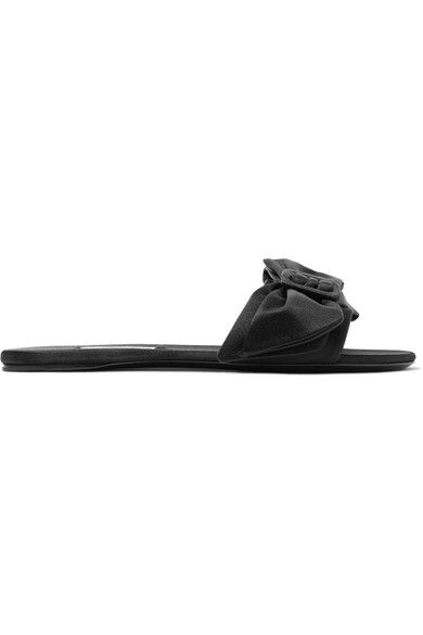Prada - Bow-embellished Satin Slides - Black - IT39