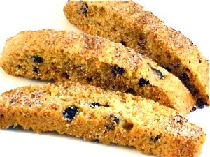 Cinnamon Chocolate Chip Biscotti…Great for Dipping in Coffee or Tea! These mandelbrot (biscotti) are so fun to make during the holidays. Since they last for at least a month, they are terrific for homemade gifts. Just buy glass mason jars to fill them in and add a ribbon. Each biscotti has 43 calories, 2 grams of fat and 1 Weight Watchers POINTS PLUS.