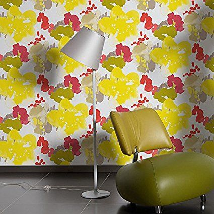 Spring' Esprit Designer Floral Wallpaper in Red, Yellow and Brown Sample: Amazon.co.uk: Kitchen & Home