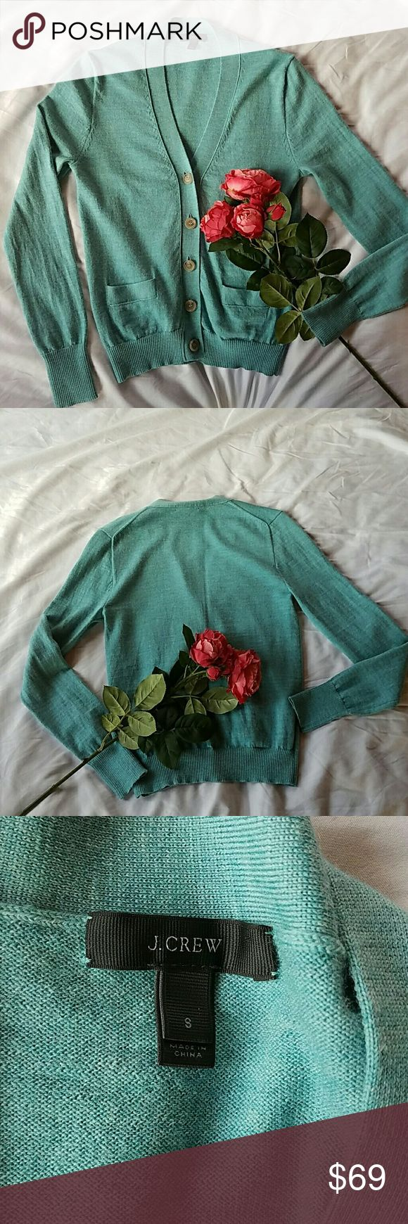 🍒LAST PRICE!!🍒 J. Crew Ladies Merino Cardigan This is a breathtaking, robin's-egg-blue cardigan in brand new condition! I had such a hard time listing this item- I just about kept it for myself... 😉 No kidding! I adore the pockets and the classic, chic look! Don't pass it up! Hand wash. 100% merino wool J. Crew Sweaters Cardigans