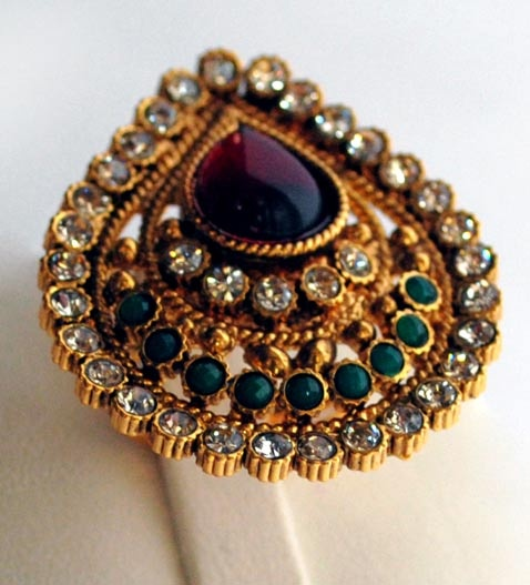 Wine, Green and Off White Kundan Studded Cocktail Party Ring Online Shopping: JAD306