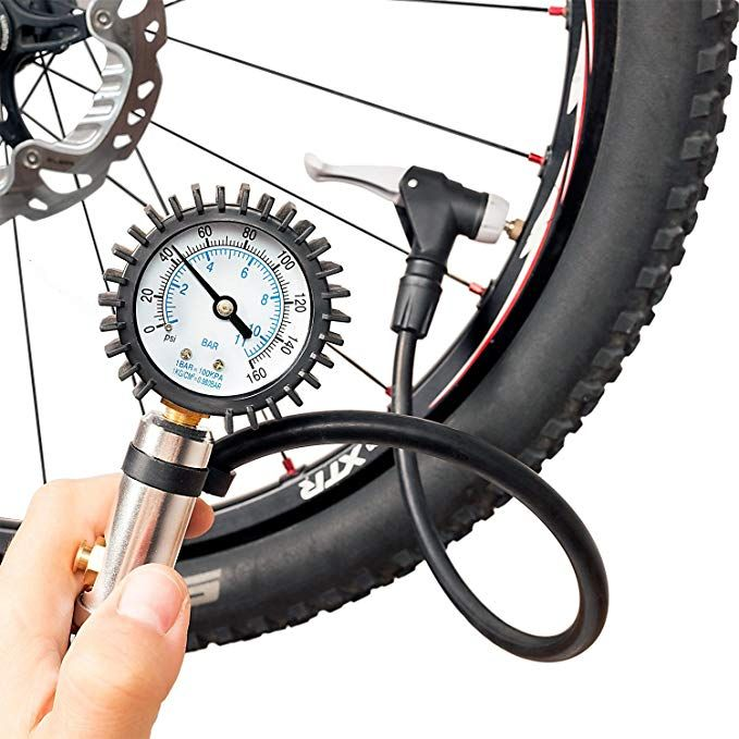 Cyclospirit Bicycle Tire Inflator Gauge Air Compressor Tool With