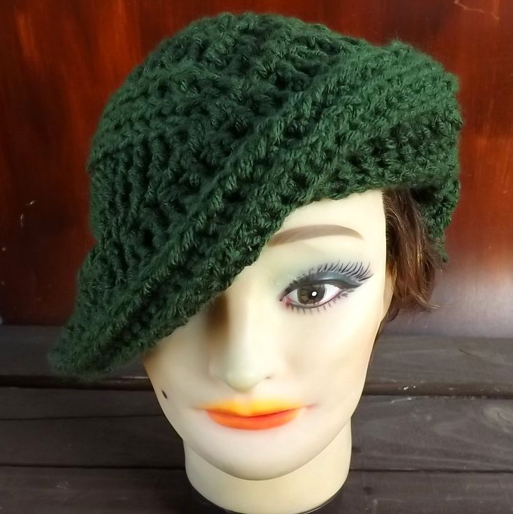 Crochet Hat Womens Hat PALM LEAF Crochet Beret Hat Olive Green Hat by strawberrycouture on Etsy 45.00 USD