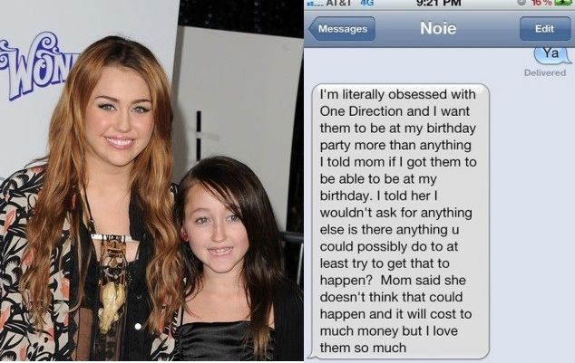 Noah Cyrus, Miley Cyrus's Little Sister Requests One Direction to Perform at Her Birthday Bash
