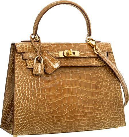 Luxury Accessories:Bags, Hermes 25cm Shiny Ficelle Alligator Sellier Kelly Bag with... Image #1
