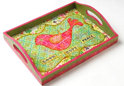 Lovebird Tray. This fun tray is not only functional, but a piece of art to be diplayed! Created with FolkArt paint, and Mod Podge. #crafts #modpodge #folkart