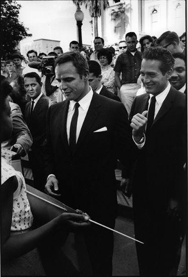 Marlon Brando and Paul Newman at a Civil Rights Rally, Sacramento, 1961.