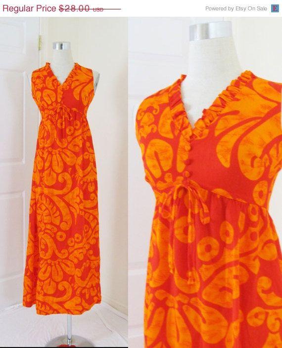 20% OFF SALE Vintage 1970's Maxi Dress / Neon Orange Beach Dress / Retro HAWAIIAN Sun Dress