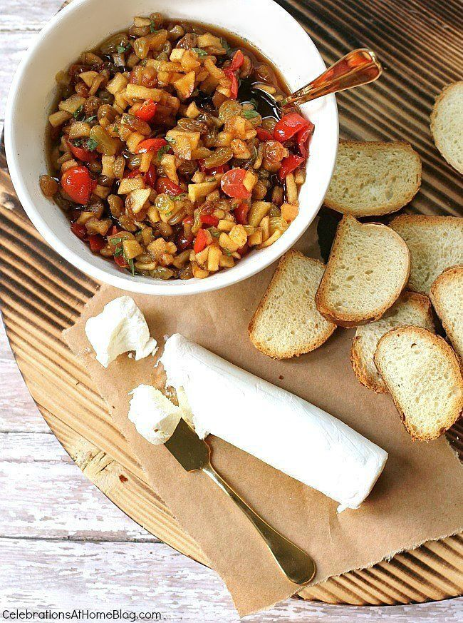 Homemade apple chutney-goat cheese crostini is an appetizer that is ...