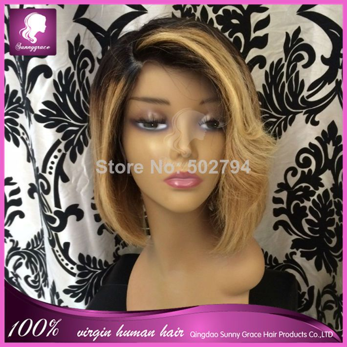 Two tone lace wig brazilian virgin hair lace front ombre bob wig/full lace human hair bob wigs