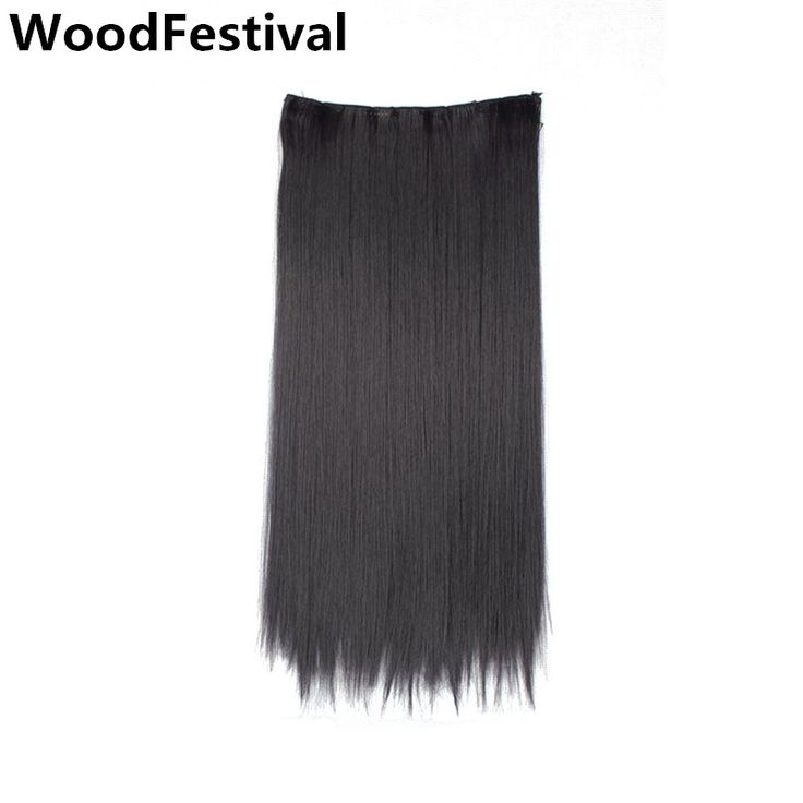 New Hair Accessories synthetic hair extensions heat resistant clip in one piece blonde black10 inches with 5 clips WoodFestival