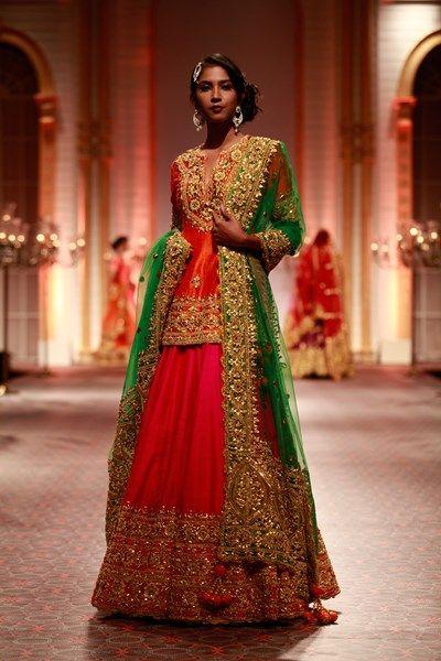 Lehengas, Clothing, Carma, Fuschia, orange and green gota patti embroidered lehenga set , , Wedding, Reception, Engagement , Silk & Silk Tule , India , DRY CLEAN ONLY ,