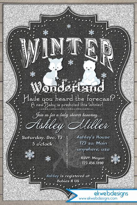 Winter Wonderland Baby Shower Invitation   Silver Glitter And Chalkboard  Background