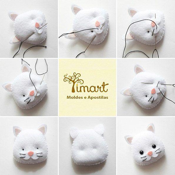 Veja o como bordar os bigodes do seu gatinho pocket em feltro no blog: www.timart.com.br/blog, ou clique em visitar, para ver o tutorial completo!