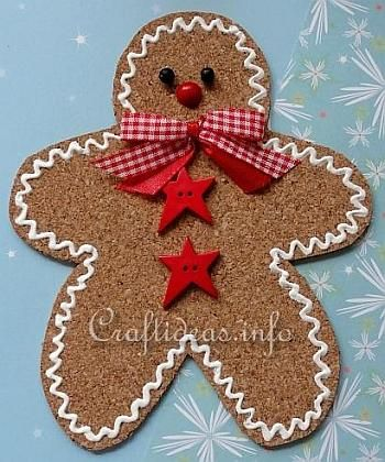 Basic Christmas Craft Ideas - Cork Gingerbread Man Ornament