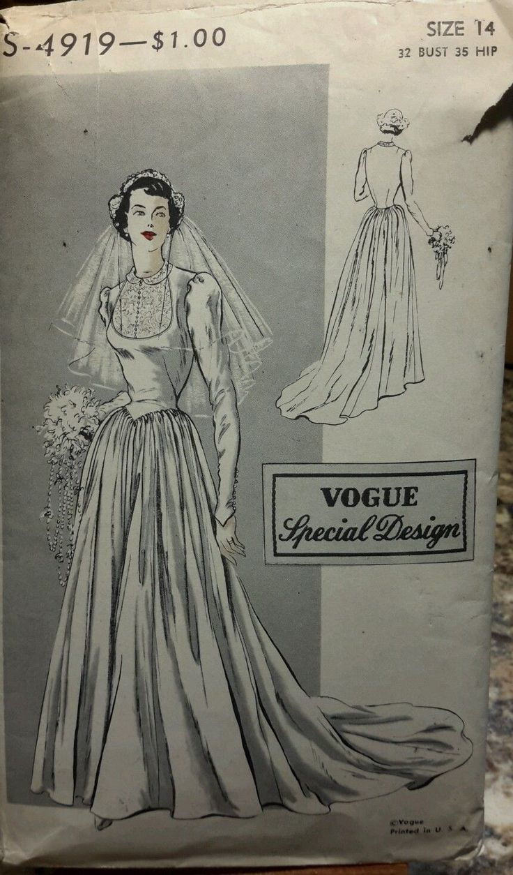 Vintage Vogue Special Design Wedding Bridal Dress Pattern 4919 Size 14