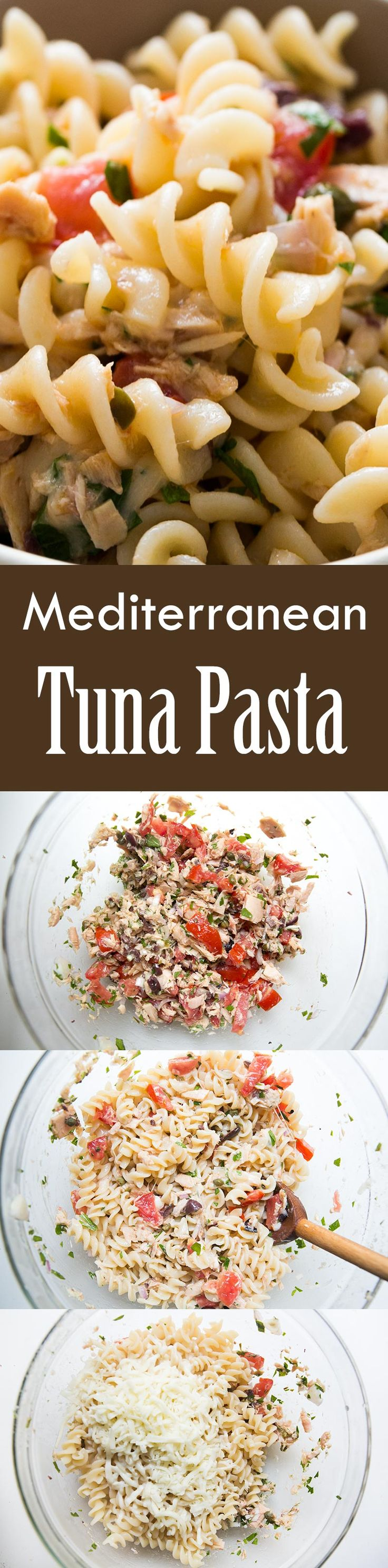 Quick and easy midweek dinner! Takes only 30 minutes to make. Tuna pasta with canned tuna, tomato, red onion, kalamata olives, lemon, capers, and Mozzarella cheese. A family favorite! On SimplyRecipes.com