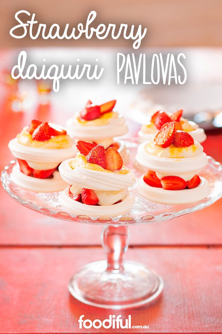 Beautiful pavlova desserts in just 20 minutes? Using store-bought meringue nests, these strawberry topped delights with lime and white rum infused cream will be a sure after dinner winner. This pavlova recipe serves 10.