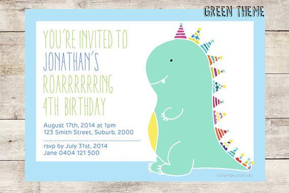 Kids' dinosaur birthday invitation printable -- digital file, we customise, you print -- unique dinosaur theme children's party invitations