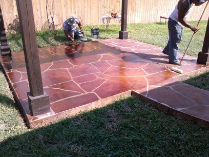 Cement Patio Makeover Concrete Impressions Engraved