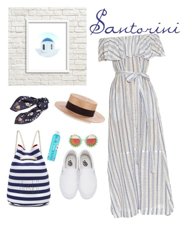"""Santorini"" by missnidy on Polyvore featuring Lisa Marie Fernandez, Duskii, Vans, Alexander McQueen, COOLA Suncare, Federica Moretti, Rad+Refined, beach, maxidress and Beachbag"