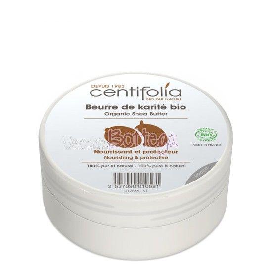 Burro di Karité 100% puro e biologico di Centifolia. Idrata gli strati superiori dell'epidermide di labbra, viso e corpo. Proprietà cicatrizzanti, emollienti, previene smagliature e rughe, elasticizzante, idratante, antiossidante, lenitivo; ma la sua caratteristica esclusiva, il segreto che lo rende davvero unico, è l'altissimo contenuto di insaponificabili (dal 12% al 18%). http://www.vecchiabottega.it/burro-di-karite-puro-e-biologico-centifolia.html
