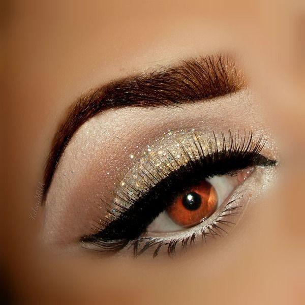 Champagne gold glitter eyeshadow #eyes #eye #makeup #dramatic #glam #glitter
