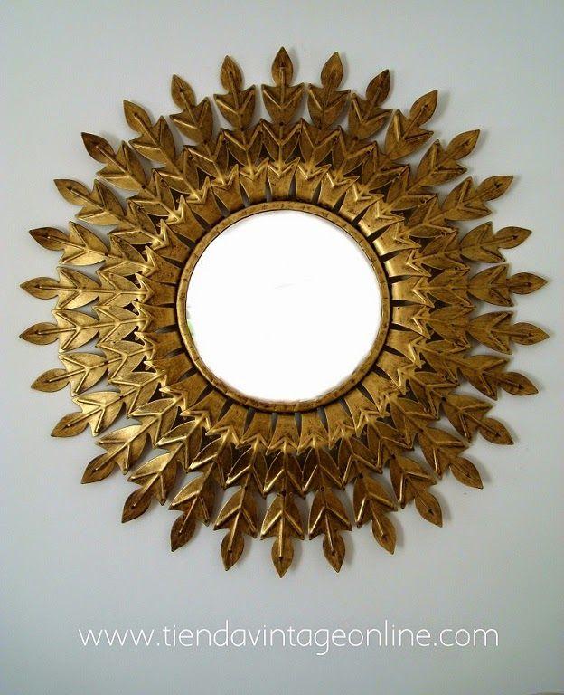 espejo sol metlico sun mirror espejos vintage midcentury