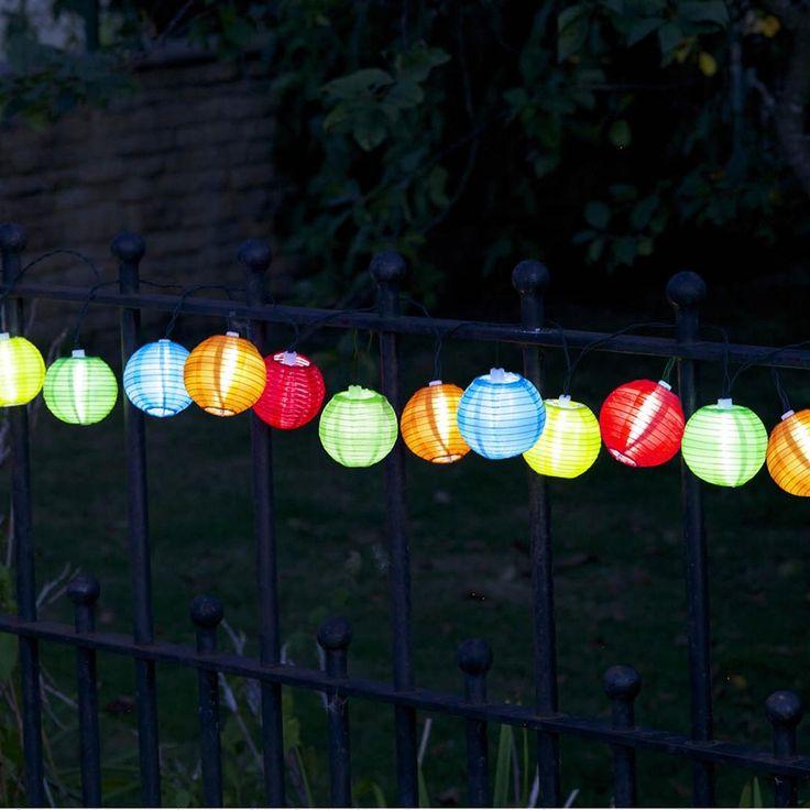 Guirlande solaire, avec 10 lanternes chinoises L. 5 m