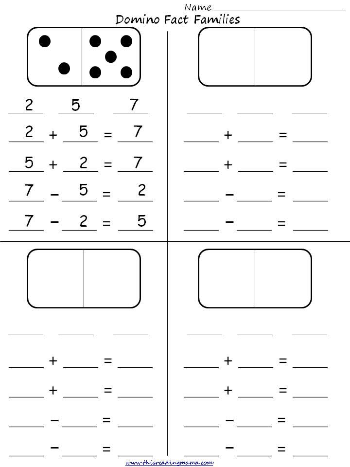 Math/Gr1-4/Pinterest Domino Fact Families Student Activity Sheet. This is a fun game for visual learners. They can see both numbers they are working with to create the math problems. Elementary age children. Found on Pinterest.