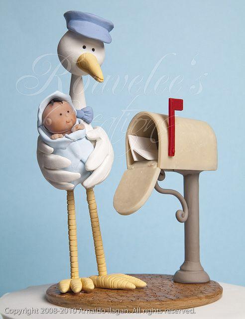 Cegonha carteiro e bébe