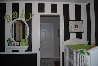Black and white nursery. Stripes.   #nursryroom