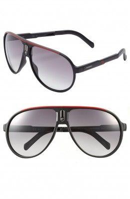 Óculos Carrera Eyewear Men's Champion 62mm Polarized Folding Sunglasses Black Red #Oculos #Carrera