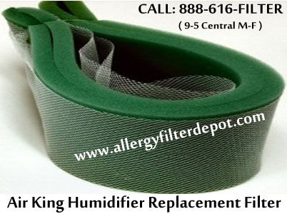 "Fits Air King humidifier models CPH100, CPH120, CPH200, CPH300, H810, H820, H836-4, H840, H857-4, H860, H810-5, PH100, PH120, PH20-A, PH20A, and PH300.  Air King humidifier filter belt (evaporator pads). Measures approximately 6 1/8"" x 61 1/2"" x 5/8"" thick. High performance, high output! For optimum performance replace filter twice a season.   For order Contact us now: Call 888-616-FILTER ( 9-5 Central M-F )"