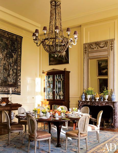 Elegant Dining Room by Timothy Corrigan Loire Valley France Chateau du Grand Luce Renovation | Architectural Digest