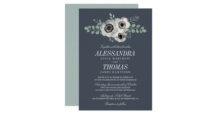 """Romantic yet contemporary floral wedding invitation features a spray of cream anemone flowers flanked by eucalyptus stems and greenery, in sheer watercolors on a smoky dark blue gray background. Add your wedding details in chic italic and block lettering in classic white. Card reverses to contrasting dusty sage green. Need help with wording or customization? Contact me via the """"Ask this Designer"""" link on this page."""