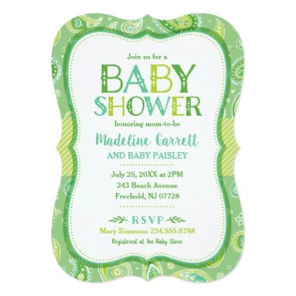 Green Paisley Baby Shower Invitation - baby gifts child new born gift idea diy cyo special unique design