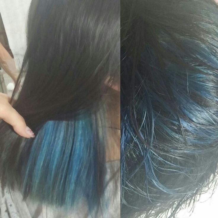 Blue and black hair with indola.... blueblack hair blue tones underneath...