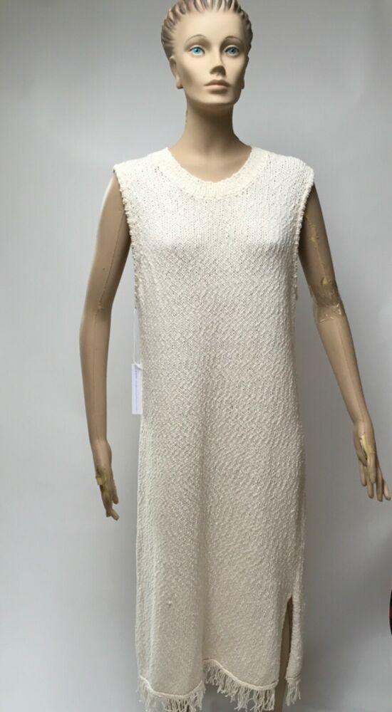 68514647f509 Anthropologie Callahan Dress XL Fringed Maxi Crocheted Sleeveless Ivory  Cotton #AnthropologieCallahan #MaxiDress #AnyOccasion